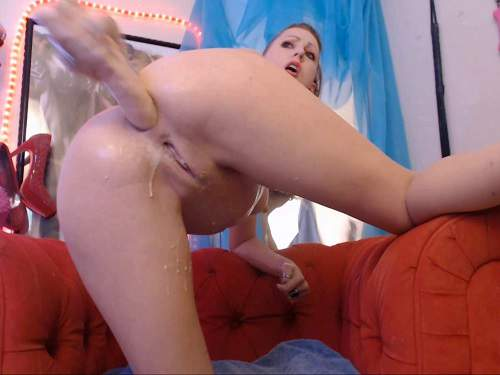 MoxiMinx dildo anal,dildo penetration,MoxiMinx dildo insertion fully,long dildo fully in ass,anus ruined