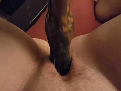 Dog dildo penetration in hairy pussy my plump wife