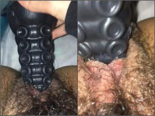 Black rubber tentacle dildo penetration in sweet hairy pussy very closeup