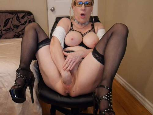 Gartersex JOI fisting secretary cum eating boss homemade