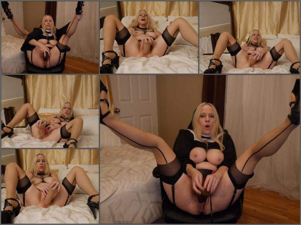 Gartersex nun cinnamon is a size queen for BWC,Gartersex dildo porn,Gartersex dildo penetration,dirty nun porn,mature with huge tits