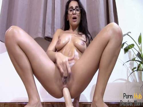 Wonderful busty brunette Danika Mori rides dildo anal