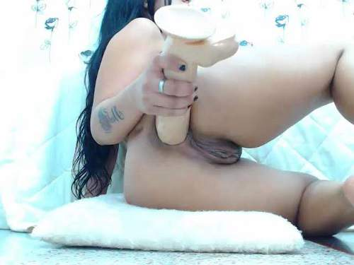 Dirty latin booty brunette penetration big dildo deep in asshole