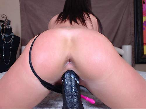 Sexy booty brunette penetration BBC dildo in wet cunt