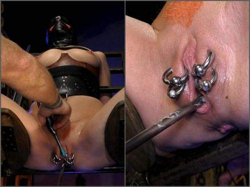 Piercing labia stretching and urethral sounding to bondage girl