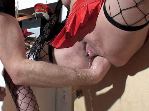 Dirty hung wife gets long dildo in ass and squirt