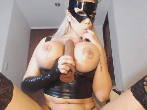 Very exciting busty girl deepthroat fuck and dildo penetration herself – 6 clips