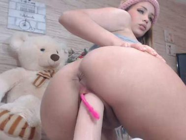 Sweety teen huge dildo penetration in her cunt
