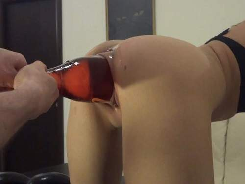 Skinny girl penetration big bottle, dildo and huge eggplant in cunt