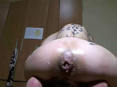 Webcam tattooed pornstar angelsdaniel BBC dildo vaginal rides and loose anal gape