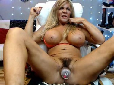 Muscular mature hairy pussy pump and dildo rides vaginal