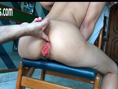 Wine and champagne bottles insertion deep in sweet prolapse anus