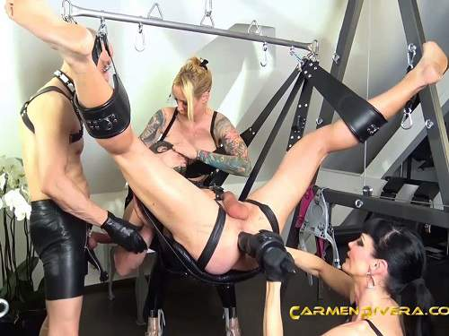 Queen Jennifer Carter and Lady Carmen femdom,Queen Jennifer Carter and Lady Carmen strapon domination,femdom porn,female domination,huge strapon porn,gangbang femdom