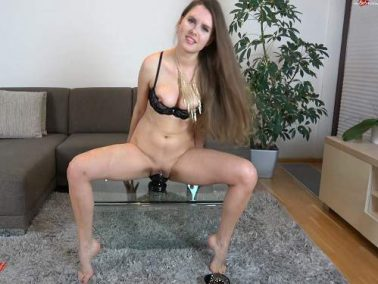 Kinky german blonde penetration giant butplug in her stretched pussy