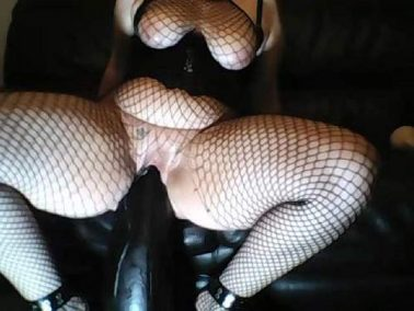 Amateur busty BBW shocking black dildo rides and fisting sex