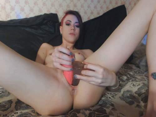 Skinny redhead girl Sasha_ double little dildos penetration