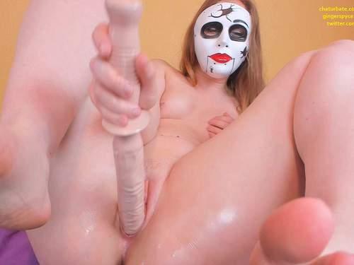 Gingerspyce masked halloween slut vs 16 inch sword webcam