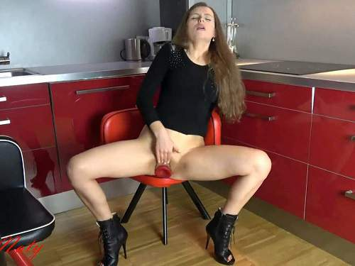 Huge dildo – SexyNaty penetration butplug in pussy and wear her red panties