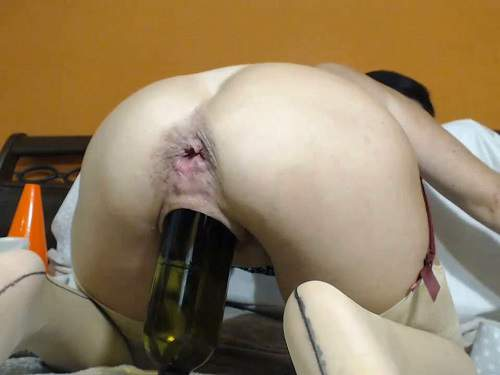 Gape ass – Kinkyvivian anal rosebutt stretched with balls, dildos and wine bottle