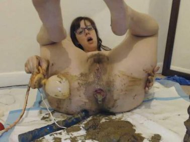 Scat prolapse - LindzyPoopgirl super filthy fuck, smear, gape and squirt