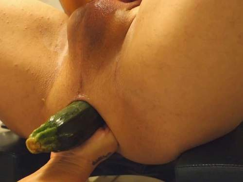 Femdom fisting – Amateur femdom vegetable and fist anal in husbands ass in one moment