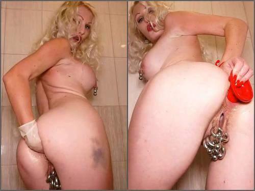 Amateur – Russian pornstar Jennysimpson bathroom fisting and dildo anal games