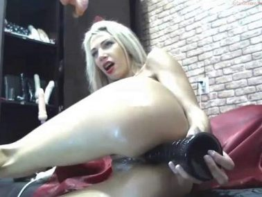 Dildo porn - Cute and beautiful skinny blonde games with her her dildos