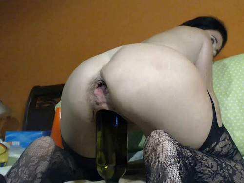 Webcam fisting – Hairy MILF with saggy tits Kinkyvivian wine bottle riding and auto gaping anal show too