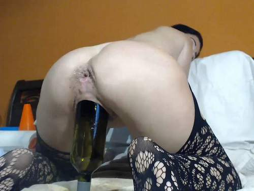 Huge dildo – Queenvivian wine bottle, double fisting and self monster dildos fuck