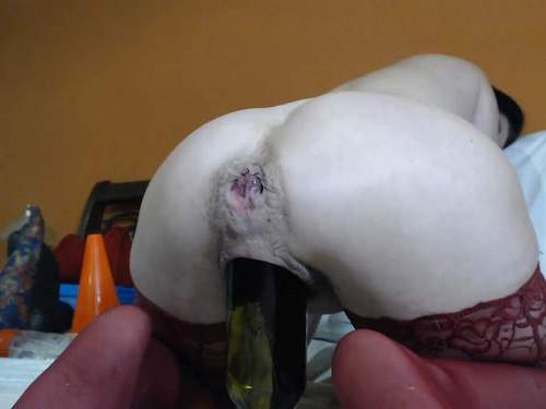 Bottle insertion – Queenvivian vaginal double fisting sex and huge toy fuck