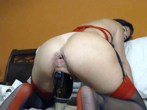 Bottle riding – Giant champagne bottle in pussy and self dildo sex with kinkyvivian