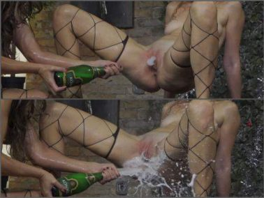 Bottle insertion - Unique champagne bottle domination vaginal, ass and tits