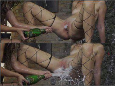 Bottle insertion - Unique champagne bottle domination vaginal, ass and tits