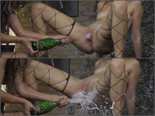Bottle insertion – Unique champagne bottle domination vaginal, ass and tits