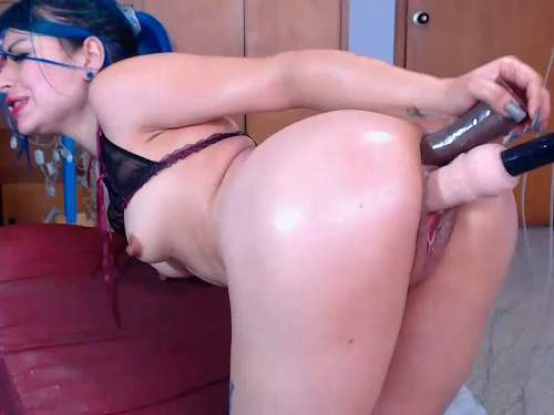 Anal – Karlakole try double dildos penetration in doggy pose webcam show