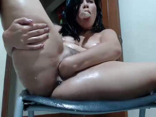 Webcam fisting – Latin hairy girl dildo riding and self fisted wet pussy