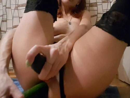 Stretching gape – Skinny wife anal gape loose with two long cucumbers