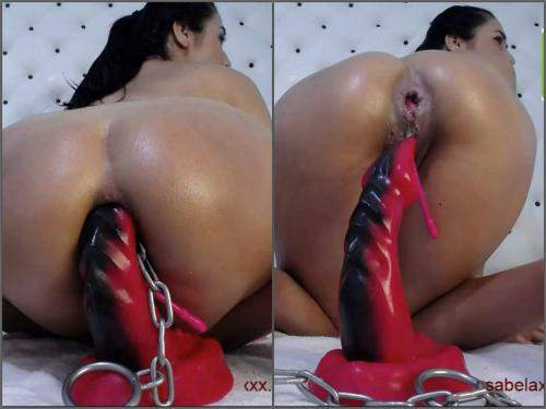 Dragon dildo – Xxisabelaxxx DAP with double dildo and dragon toy with iron ball