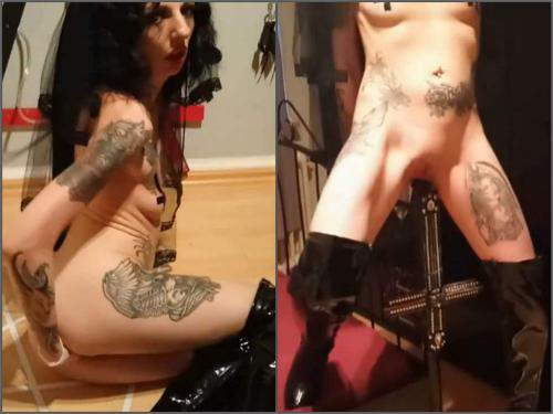 Amateur fisting – Amateur german satanist brunette bedpost riding and fisting herself