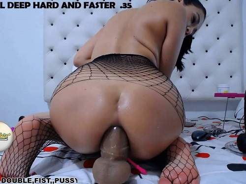 Gaping anal – Narrow anal gape loose with huge brown rubber dildo with xxisabelaxxx
