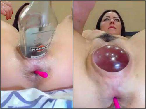 Girl gets fisted – Dirty brunette again vaginal stretching with bottle, balls, fist and dildo
