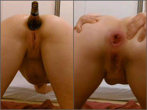 Gaping anal – Amateur beer bottle penetration anal in different poses