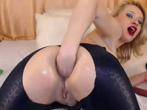 Anal fisting – Webcam GingerRomayn double dildos sex and self anal fisting