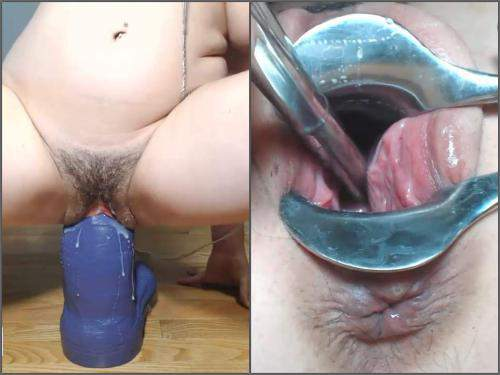 Speculum examination – Petitefistingqueen rides on a really big bad dragon dildo and speculum examination