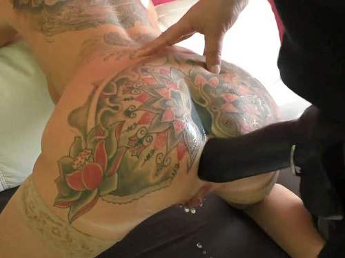 Dildo porn – Tattooed german wife AngelAlpha gets strap-on domination from husband