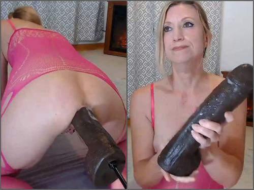 Mature anal – Webcam blonde wife Wynfreya perfect BBC dildo fucking machine anal