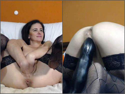Mature fisting – Webcam big ass MILF kinkyvivian try fisting and big toys penetration herself