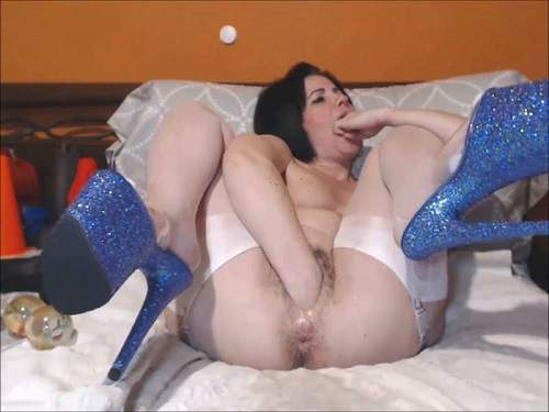 Mature penetration – Queenvivian hairy pussy pump and double fisting exciting webcam