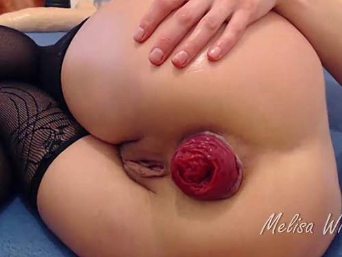 Anal prolapse – Melisa Wide monster toy, triple anal and huge prolapse – Premium user Request