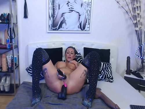 Huge dildo – Big tits tattooed MILF penetration many big dildos anal and vaginal